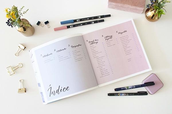 El Amante Volador - Libro Brush Pen Lettering. índice.