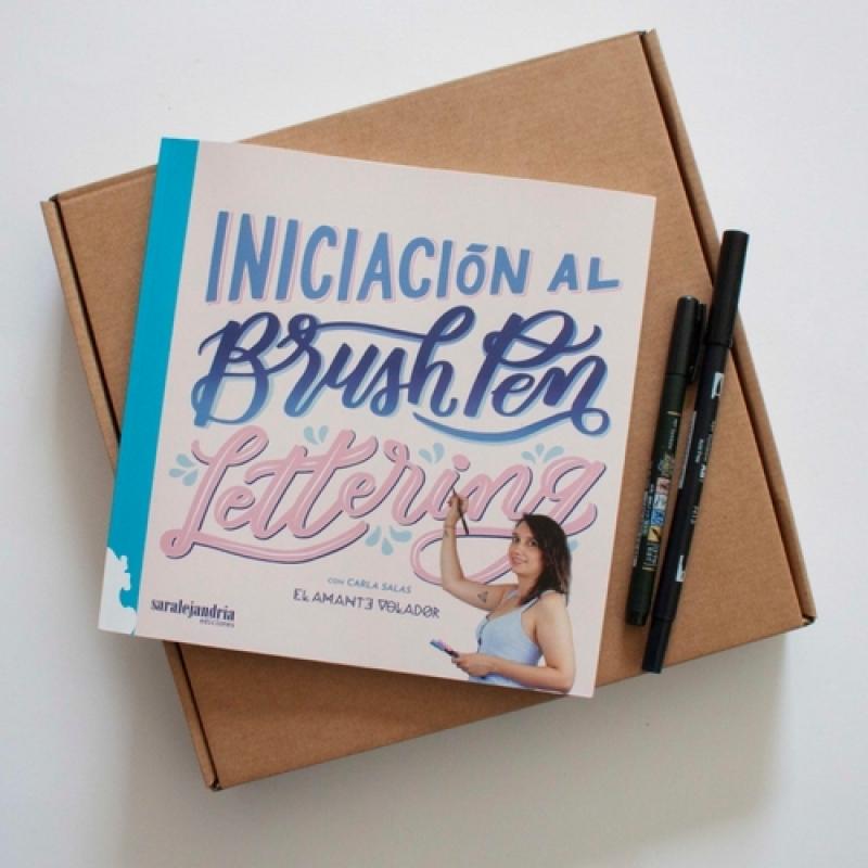 El Amante Volador - Kit completo Inciación. Libro Brush Pen Lettering y dos rotuladores Tombow.